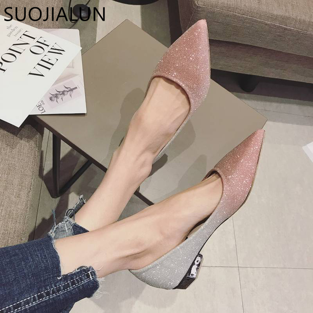 SUOJIALUN Spring Autumn Women Shoes Pointed Toe Ballet Flats Fashion Sequined Cloth Slip on Ladies Flat Shoes Zapatos Mujer