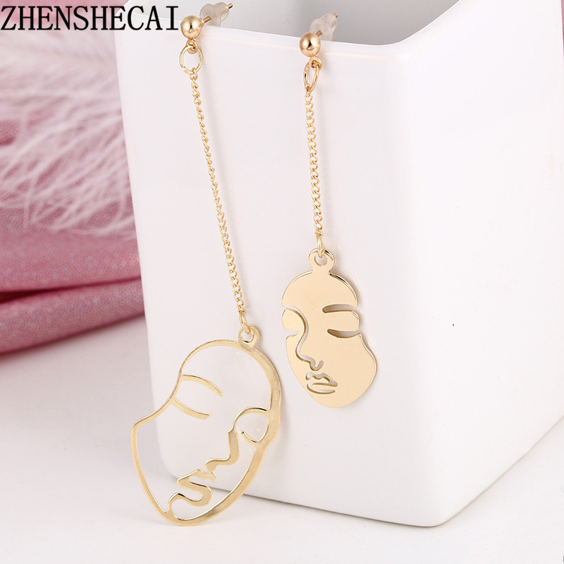 New Arrival Abstract Art Drop Earrings Gold Color Face Earrings For Women Girls Statement Tassel Earrings Exquisite Gift E0440
