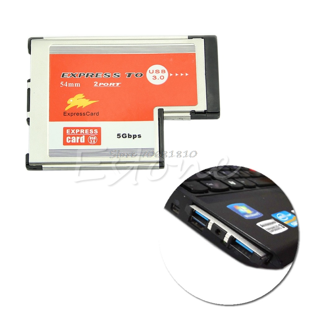 2 Dual Port USB 3.0 HUB Express Card ExpressCard 54mm For Laptop R179T