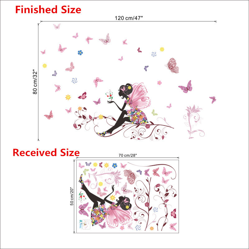 HTB18SONMpXXXXXwXpXXq6xXFXXXo - Charming Romantic Fairy Girl Wall Sticker For Kids Rooms Flower butterfly LOVE heart