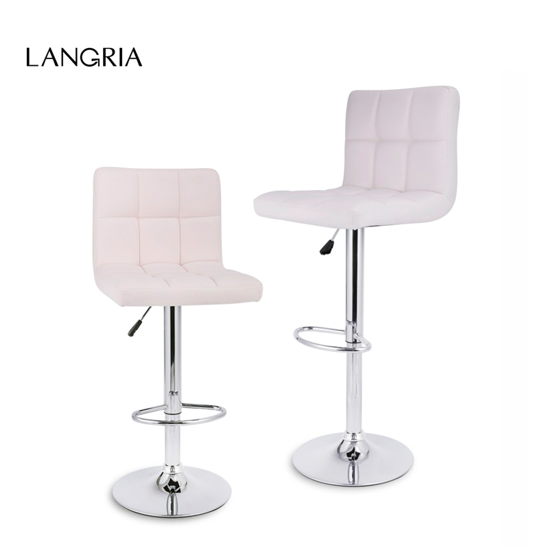 2 Pcs Langria Gas Lift Height Adjule Swivel Quilted Faux Leather Bar Stools Chairs With Chromed Base And Footrest For In From Furniture