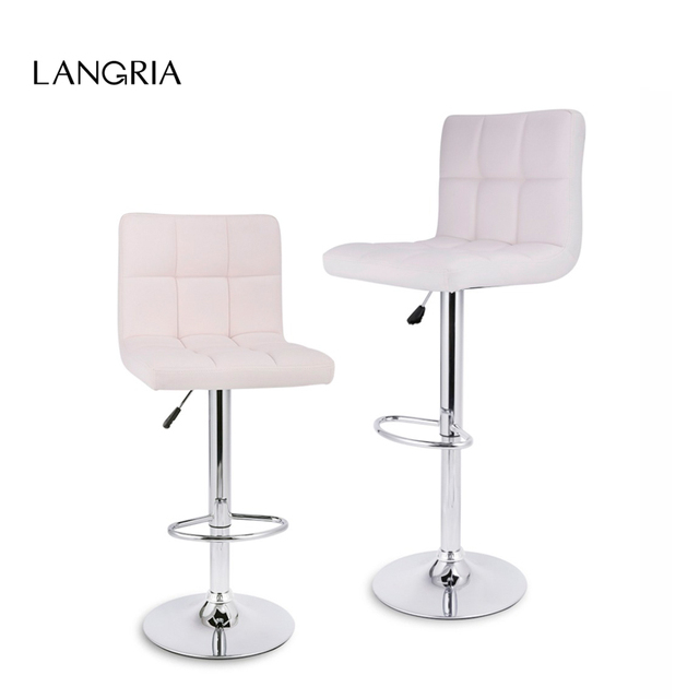 2 Pcs LANGRIA Gas Lift Height Adjustable Swivel Quilted Faux Leather Bar Stools Chairs with Chromed Base and Footrest for Bar