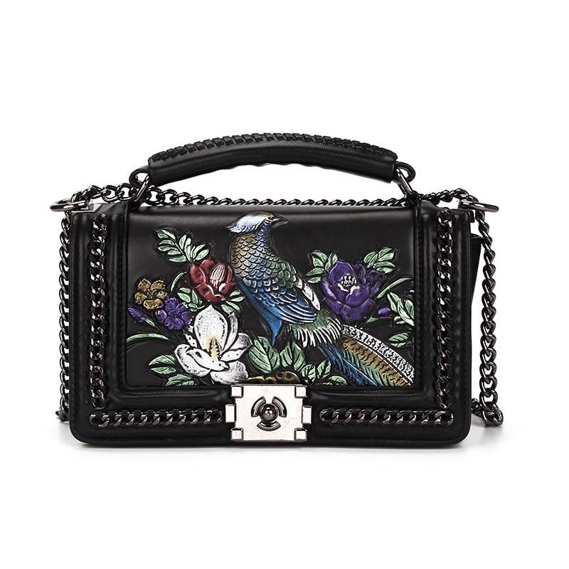fashion national women pu flap chain crossbody shouder bag women floral birds spring autumn ladies handbag цена