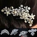 Свадебное цветок кристалл стразы стразами жемчуг женщины волосы клип гребень волос аксессуары