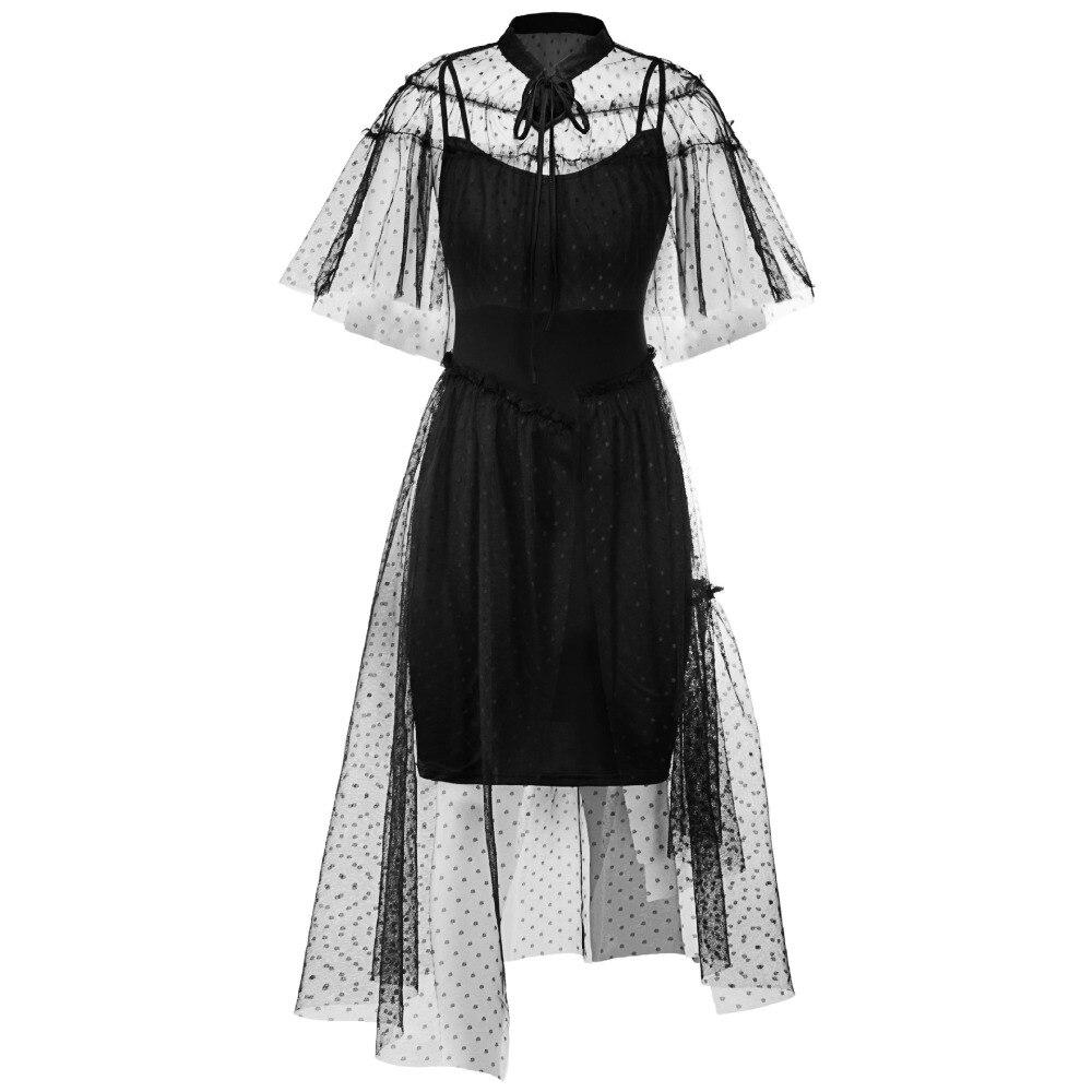 baf66c6eaacab Black Vintage Gothic Party Dress Women Asymmetrical Halloween Swing Dress  Robe Vestidos Femme Steampunk 50s 60s Women Clothing