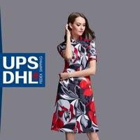 Wankou Standı Yaka Çin Tarzı Cheongsam Yaz Kadın Elbiseler Kısa Kollu Baskı Yüksek Bölünmüş Rahat Ince Elbise Oldu