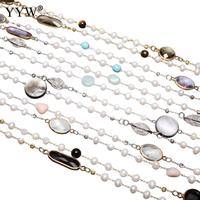 Freshwater Pearl Sweater Chain Necklace Gems Stone White Shell Quartz Stone Pearl Long Necklaces for woman Sold By Strand