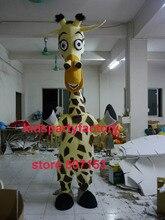 Sommer heißer verkauf!! neue Giraffe Erwachsene größe maskottchen kostüm mit anzüge schuhe hände phantasie party kleid Halloween kostüm