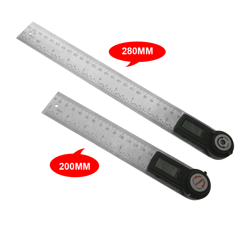 Stainless Steel Digital Angle Protractor Goniometer 200mm 8/'/' Finder Ruler 61