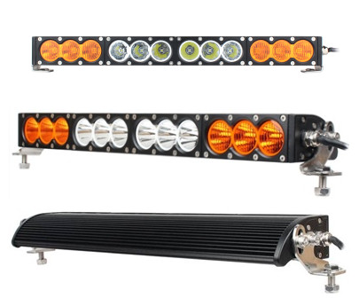 16.6 inch 90W 22 inch 120W LED light bar Combo beam white + Amber Double Color Single Row lights Bar by Cree Chips 9 30V