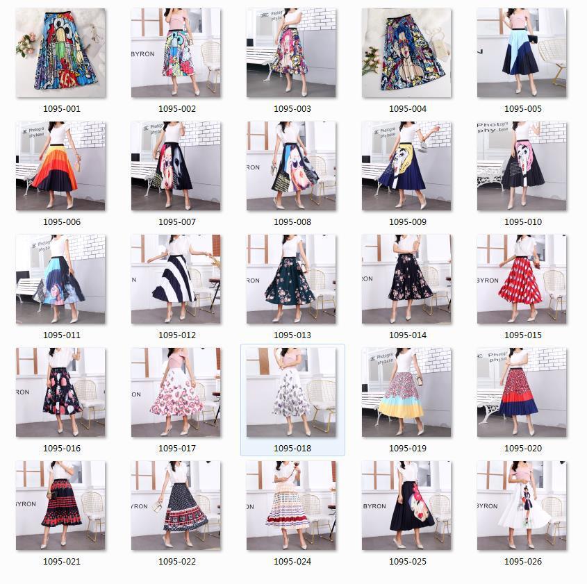 2020 New Summer Skirts Womens Butterfly Catroon Print Empire High Waist Elastci Pleated Midi Skirt European High Street Style 21