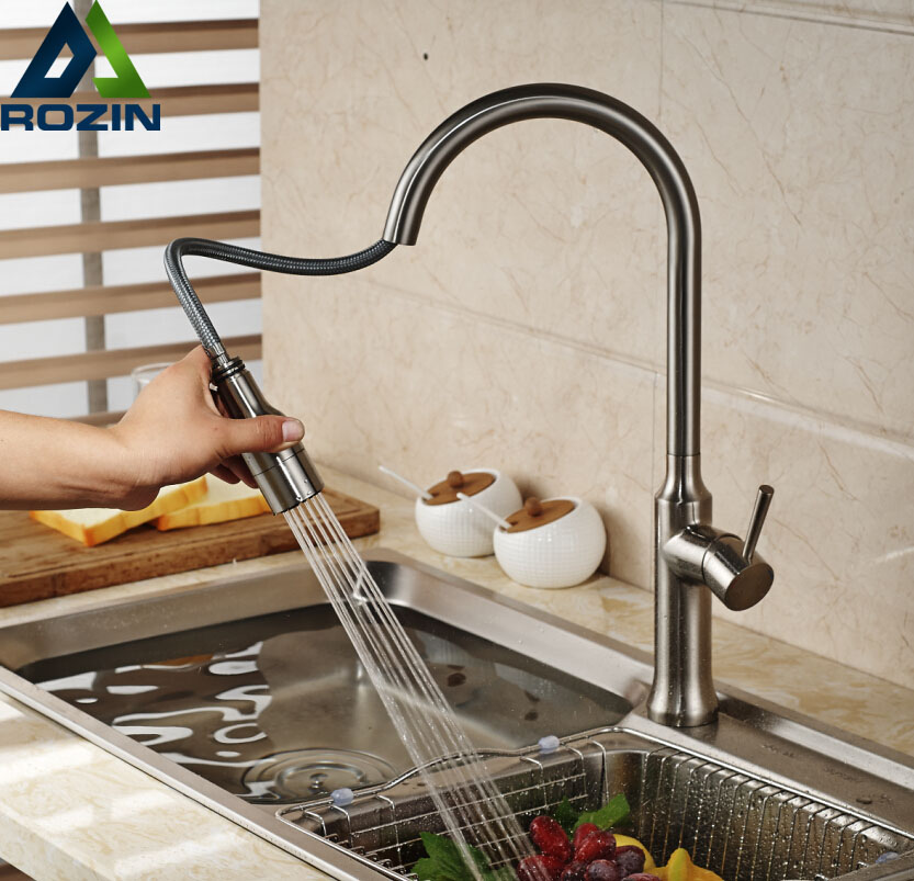 Brushed Nickel Pull Out down Kitchen Sink Mixer Taps Single Lever Dual Sprayer Nozzle