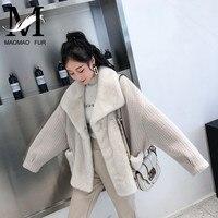 Women Real Mink Fur Coat Autumn and Winter Knitted Wool Jacket Natural Short Loose Mink Natural Mink Fur Coat Female