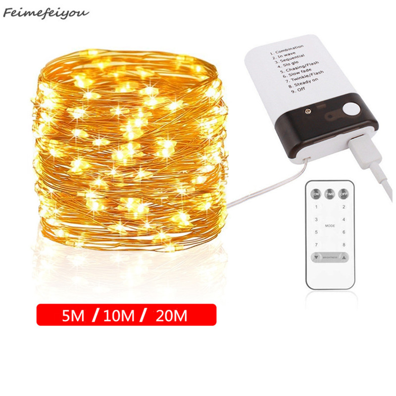 5/10/20M LED Copper Wire String Lights Eight Modes Battery USB Dual Power Fairy Light String For Christmas Wedding Decor Lights5/10/20M LED Copper Wire String Lights Eight Modes Battery USB Dual Power Fairy Light String For Christmas Wedding Decor Lights