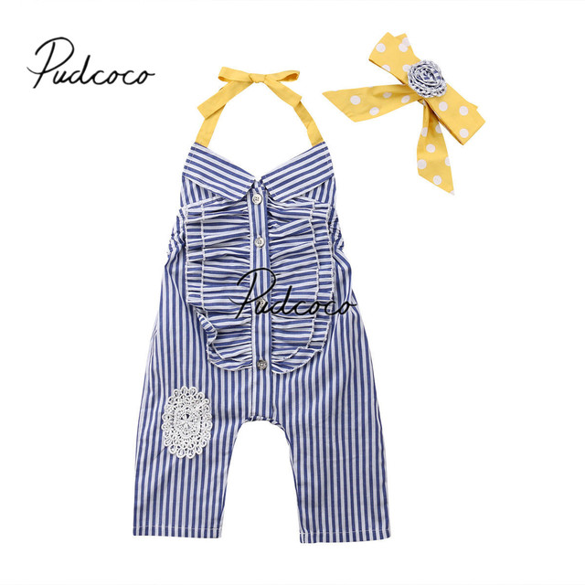 89798293a67 2018 Brand New 1-6Y Summer Fashion Toddler Baby Girl Romper Sleeveless Blue  Ruffled Striped Strap Backless Lace 2Pcs Jumpsuits