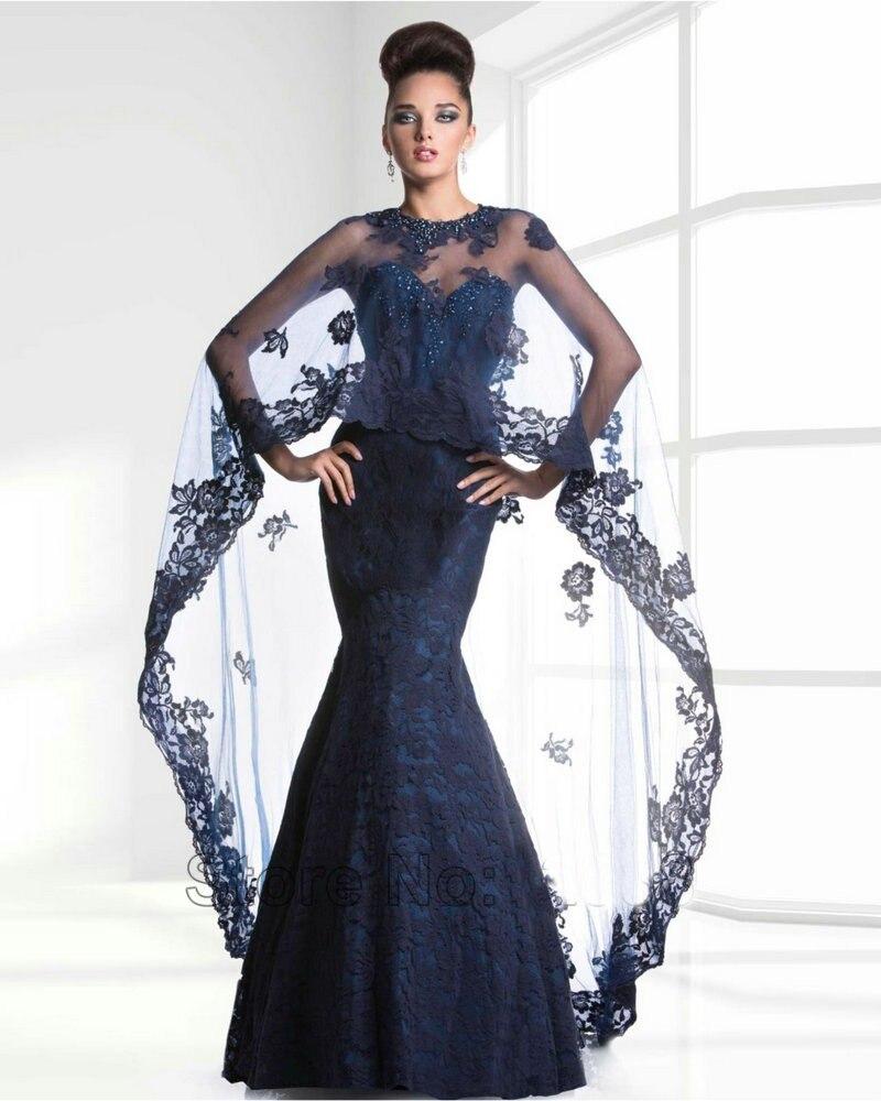 Мода темно-синий вечерние платья с шалью 2016 милая русалка из бисера женщины формальные мать Невесты Платье платье