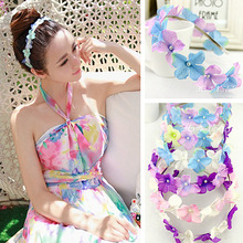 NEW Free shipping KLJH30506 60pcs /lot 6 colors  Silk Hydrangea flower crown Hawaii Dancer Summer Beach Party