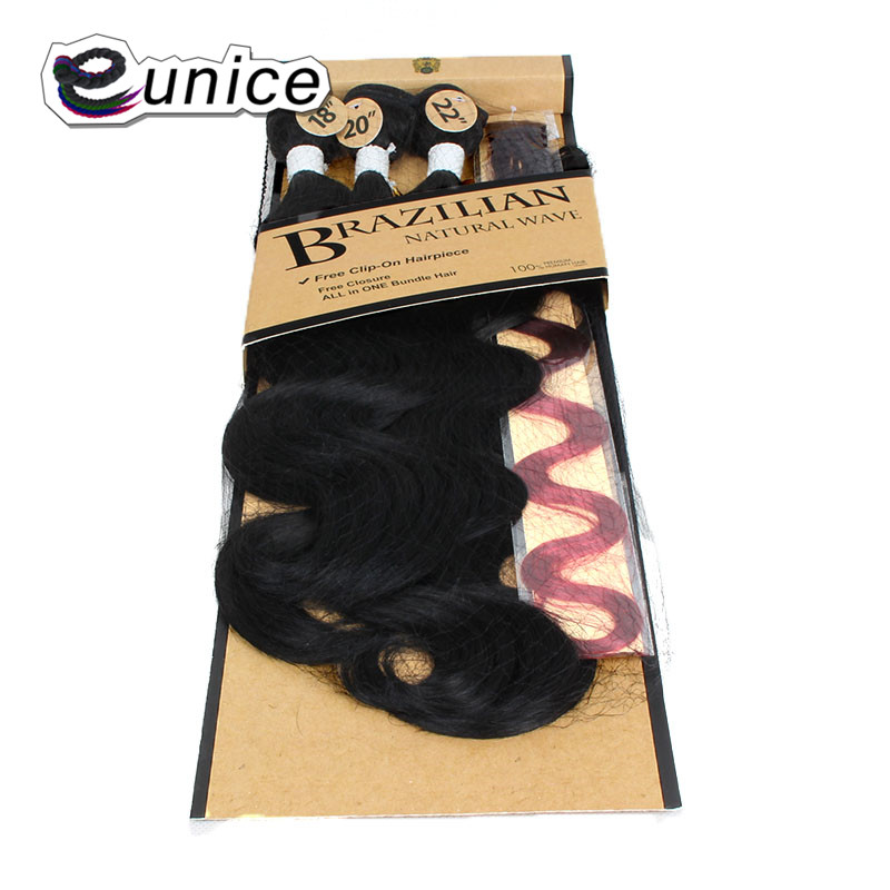 Synthetic Hair Extensions With One Closure Natural Body Wave Weft Hair Weaving Ombre Hair Weave  (2)