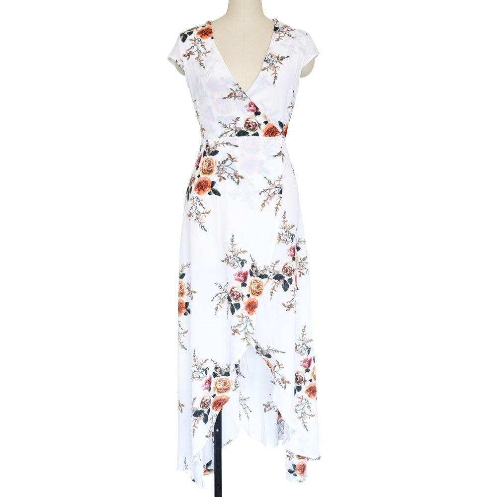 4583ba95973 Women Boho style long dress V neck short sleeve beach summer dresses Floral  print Vintage chiffon maxi dress vestidos de festa-in Dresses from Women s  ...