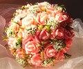 2017 baratos de la boda ramo de novia dama de honor flor color de rosa/rojo/púrpura/orange flor rosa artificial novia ramos de buque de noiva