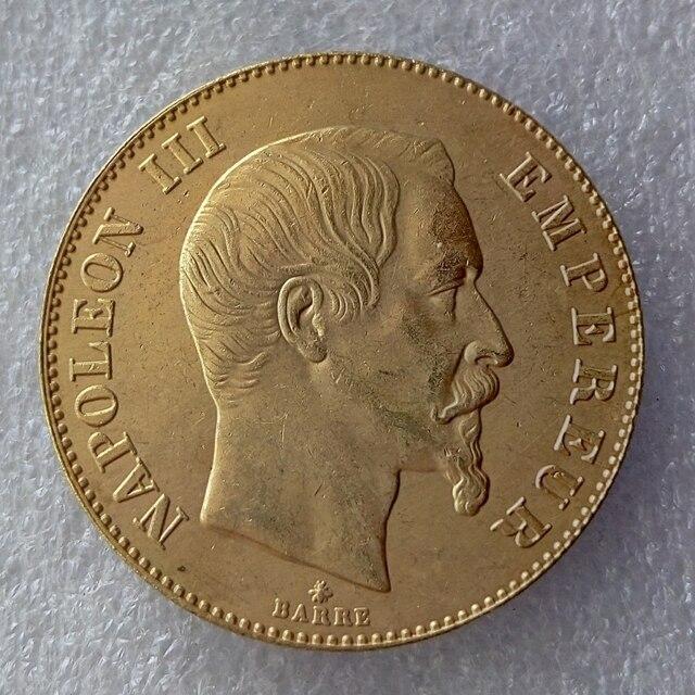 Frankreich Eine 1855 100 Franken Napoleon Iii Gold überzogene Münzen