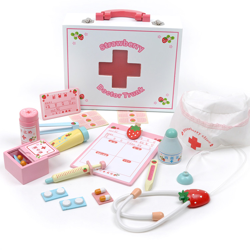 Mother Garden Girl's Doctor Role Playing Game Wooden Medicine Box Toys Set