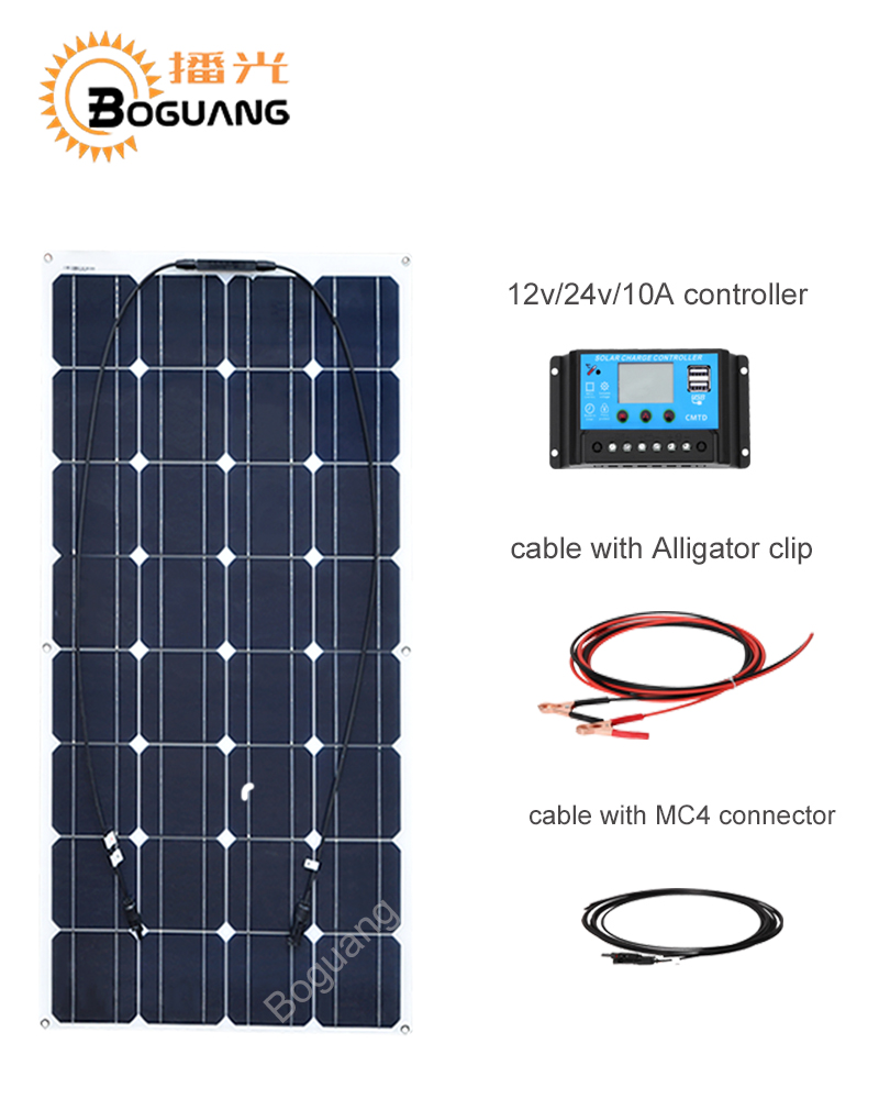 100W 12 V Mono solar panel Solar Starter Kit 100 watt Solar Panel module+ 10A PWM Charge Controller + MC4 Connectors for RV home ggx energy 120 watt portable rv and marine mono folding solar panel kit with 10a solar charge controller