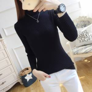 2018 NEW half high collar sweater female matching Korean version self repairing knitted Jersey long sleeves and pure collars
