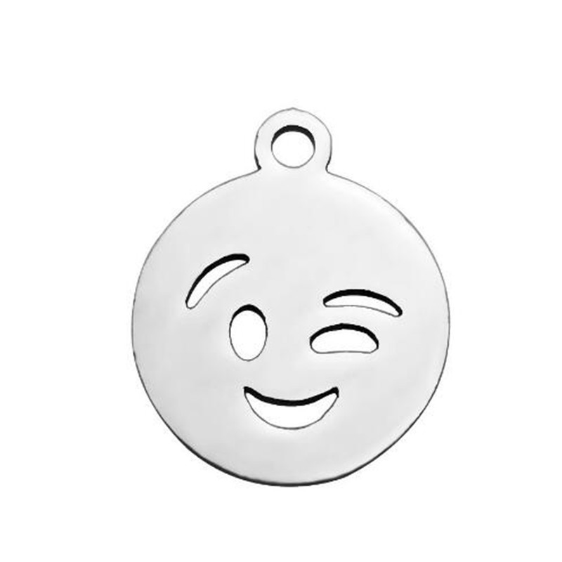 12mm Round Stainless Steel Fashion Face Jewelry For Women Gift Cute Expression Necklace Pendant