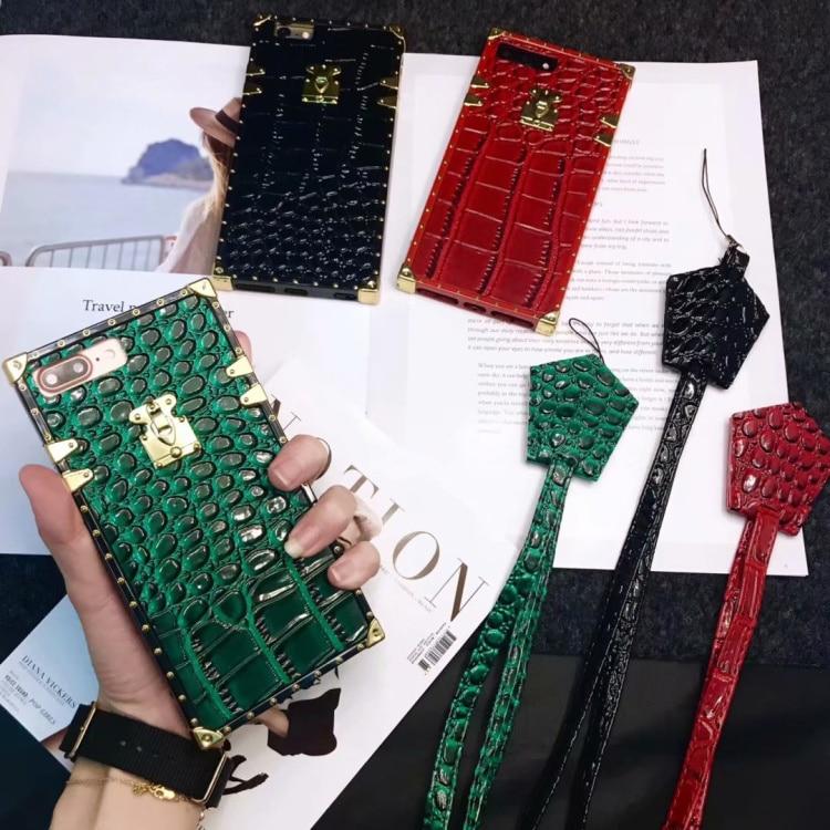 CKHB 3D fashion luxury brand animal crocodile leather square lattice phone case for iPhone 6 6s