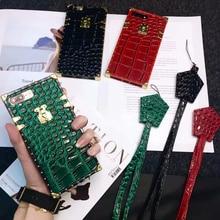 CKHB 3D модные Элитный бренд животных крокодиловой кожи квадратный решетки чехол для телефона для iPhone 6 6S 7 8 Plus X XS XR MAX в виде ракушки