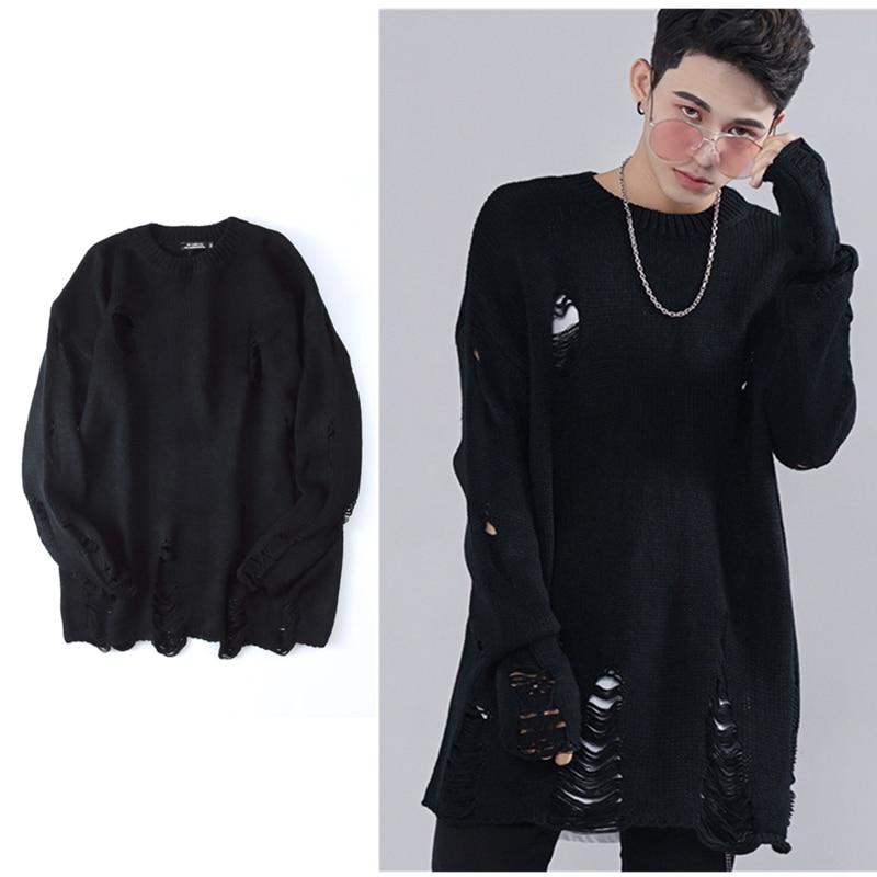 Knaye West Ripped Holes Winter Fashion Tear Sweater Mens 2017 ...