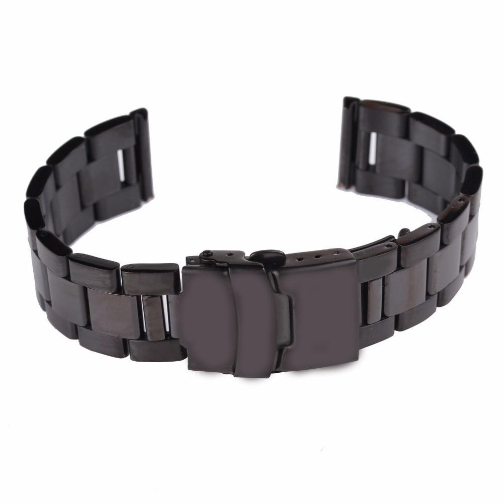 18 20 22 24mm Men's Solid Stainless Steel Watch Band Strap Double Lock Flip  Bracelet