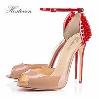 Hosteven Brand Women Shoes High Heels Pumps High Heels Woman Shoes Wedding Shoes Pumps Red Beige