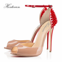 Hosteven Brand Women Shoes High Heels Pumps High Heels Woman Shoes Wedding Shoes Pumps Red Beige