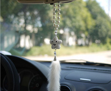 Cute Smile Star Car Rearview Mirror Hanging Ornament Interior Decor Accessories Crystal Fur
