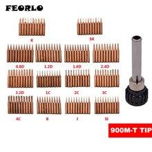 FEORLO 10PCS+SLEEVE K /SK/IS/B/I/1C/2C 3C /4C /5C/3.2D/2.4D/1.6D/1.2D/0.8D 900M-T pure copper Soldering tip welding sting