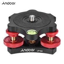 """Andoer LP 64 Base de cabeza de trípode para cámara, nivelador de precisión de tres ruedas con nivel de burbuja, tornillo de 3/8 """", carga de aleación de aluminio de 15kg"""