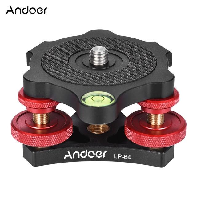 "Andoer lp 64 카메라 삼각대 헤드 레벨링베이스 트라이 휠 정밀 레벨러 (버블 레벨 포함) 3/8 ""나사 알루미늄 합금로드 15 kg"