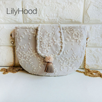 LilyHood Sweet Lolita Lace Cover Shoulder Bag Female Kawaii Cute Pom Pom  Fringe Wedding Fabric Cotton c8e1215890e4