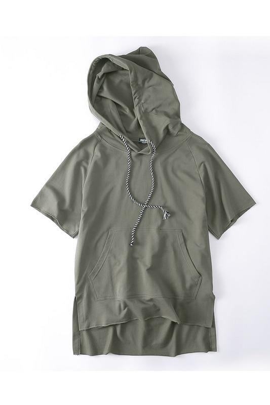 Off Shoulder Blank Color Mens Sweatshirts and Hoodies Short Sleeve Loose Style Solid Color Hip Hop Hoodie Black ,Green