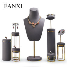 FANXI Jewelry Display Leather Necklace Earring Bracelet Stand Neckalce Bust Setwith Metal Base