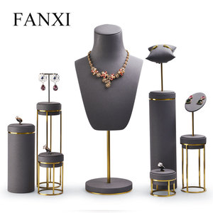 Image 1 - FANXI Jewelry Display Leather Necklace Earring Bracelet Display Stand Neckalce Bust Display Setwith Metal Base