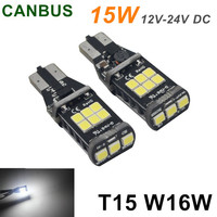 2X T5 W16W Saving 15 LED 3535SMD Canbus Vehicle Truck Light Durable Bulb (White)