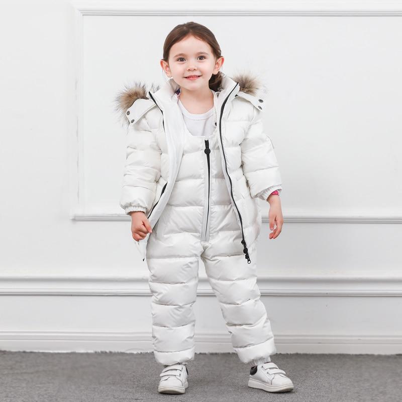 Hiver enfants vers le bas costume longue fermeture éclair solide blanc canard vers le bas garçons filles vers le bas vestes épaississement veste + pantalon deux pièces vêtements