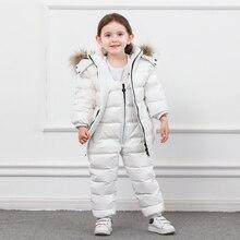 Traje de invierno para niños, Cremallera larga, plumón de pato, chaquetas de plumas para niños y niñas, chaqueta gruesa y pantalones, ropa de dos piezas