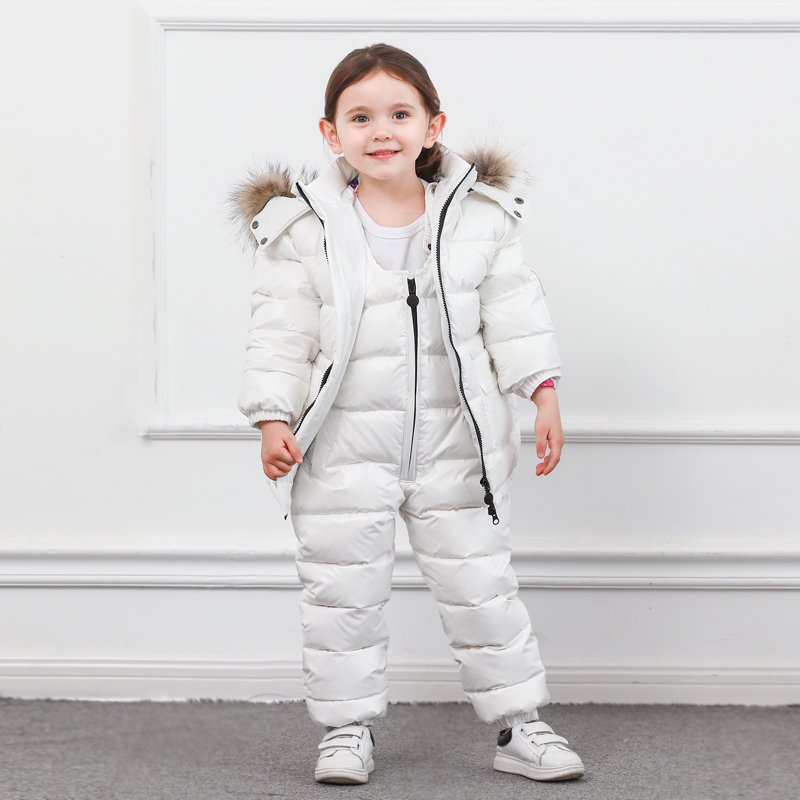 Winter Children Down Suit Long  Zipper Solid White Duck Down Boys Girls Down Jackets Thickening Jacket + Pants Two piece Clothes-in Clothing Sets from Mother & Kids