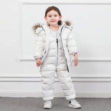 Winter Children Down Suit Long  Zipper Solid White Duck Boys Girls Jackets Thickening Jacket + Pants Two piece Clothes