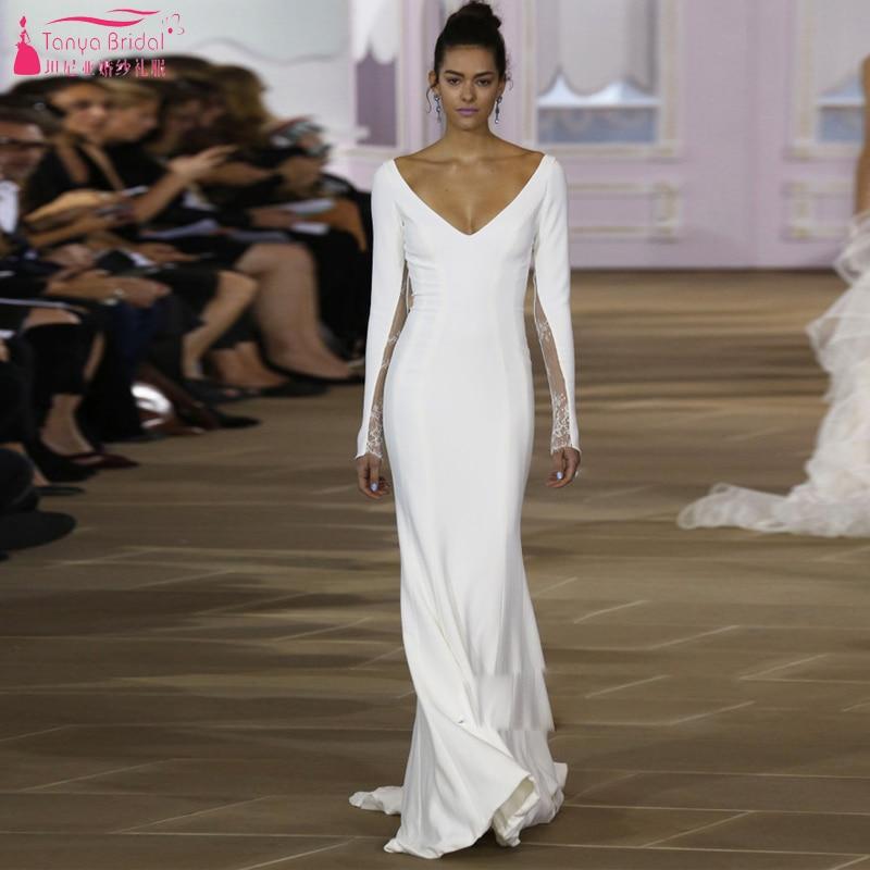 White Long sleeve Fall Wedding Dresses Simple Elegant V Neck Bridal ...