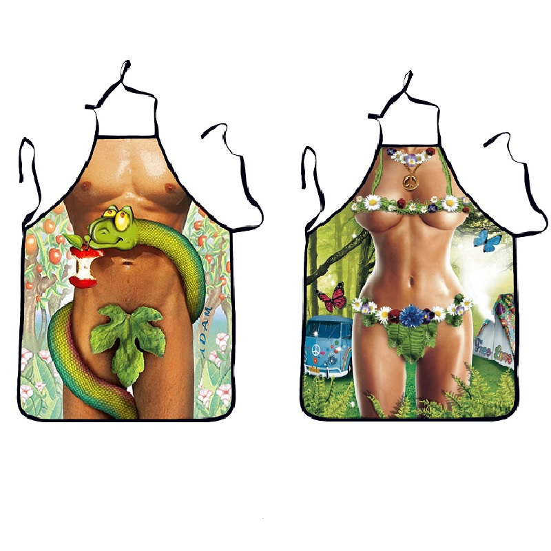 3D Funny <font><b>Sexy</b></font> Naked Man Women <font><b>Aprons</b></font> Adam Eve <font><b>Kitchen</b></font> <font><b>Apron</b></font> Dinner Party Cooking <font><b>Apron</b></font> Adult Cozinha Tablier Cuisine Pinafore image